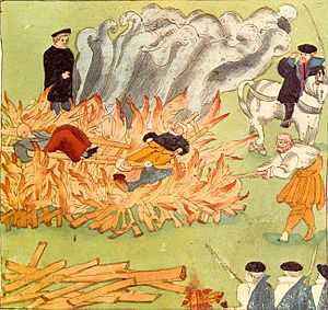 Artistic depiction of the execution by burning...