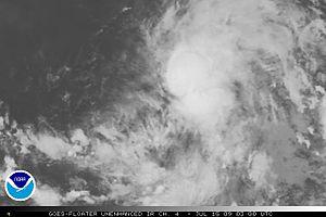 English: Tropical depression Five-E Español: D...