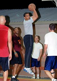 Senator Barack Obama (D-Ill.), rebounds the ba...