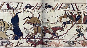 English: Bayeux Tapestry scene of Battle of Ha...