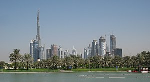 Downtown Burj Dubai and Business Bay, seen fro...
