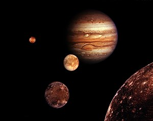 Jupiter and its four largest moons (montage)