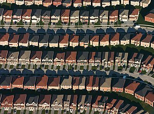 An aerial view of housing developments near Ma...