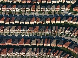 An aerial view of housing developments near Ma...