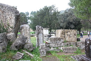 Ruins in Olympia, Greece near the east end of ...