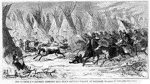 Seventh Cavalry Charging Black Kettle s Village 1868.jpg
