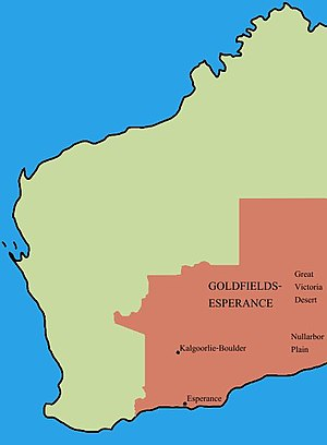 Location of Goldfields-Esperance region