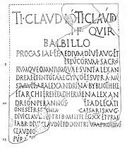 Tablilla romana del 56 adC, mencionando la Biblioteca de Alejandría