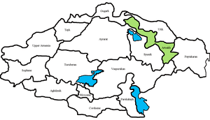 Location of Artsakh within the Kingdom of Armenia