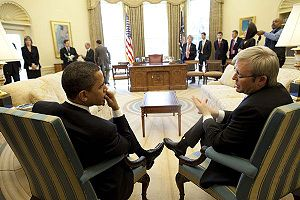 President Barack Obama in an Oval office meeti...
