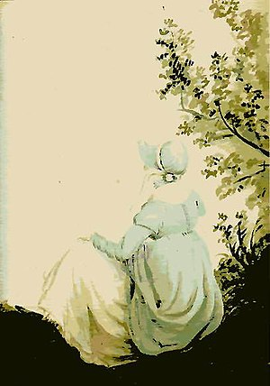 Back View of Jane Austen, Watercolor