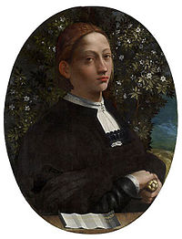 Supposed portrait of Lucrezia Borgia assumed to be by Dosso Dossi [1]