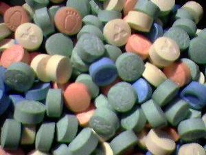 Assortment of Ecstasy pills.