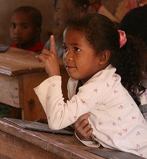 English: 1st grade student at Soamanandray (on...