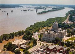 "Flood waters inundated parts of Jefferson City, MO and threatened the Missouri State Capitol during the ""Great Flood of 1993""."