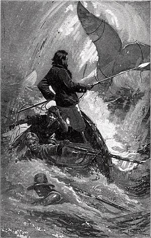 Illustration of the final chase of Moby-Dick.