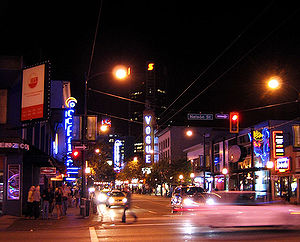Vancouver Nightlife - Nelson and Granville St.