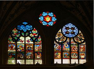Stained glass windows of Berne cathedral, Swit...