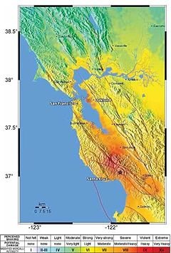 USGS map showing relative shaking intensities