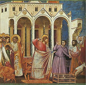 Jesus casting out the money changers from the ...