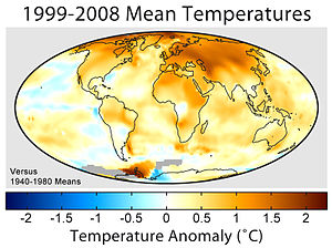 Mean surface temperature change for 1999–2008 ...