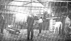 Old newspaper photo of the lynching of 'Killer...