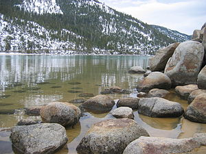 Boulders on the shore of Lake Tahoe, Californi...