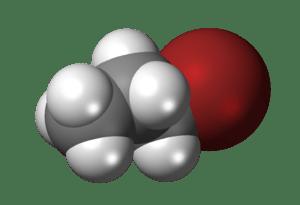 3D diagram of n-propyl bromide molecule. Prepa...