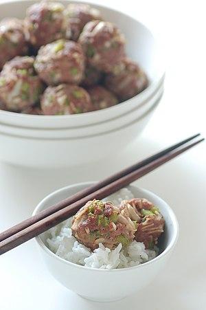 English: Oriental meatballs.