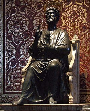 Ancient statue of St. Peter in St. Peter's Bas...
