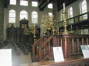 Interior of the Amsterdam Synagogue: the bema ...