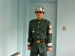 English: This is a South Korean guard protecti...