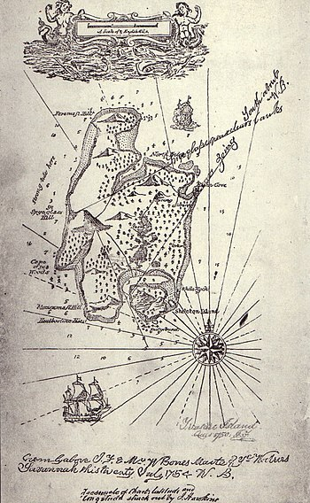 English: map of Treasure Island, from the firs...