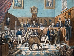 English: Painting of the Trial of Bill Burns, ...