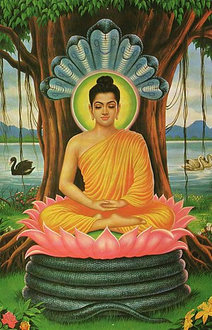 English: Paintings of Buddha meditating