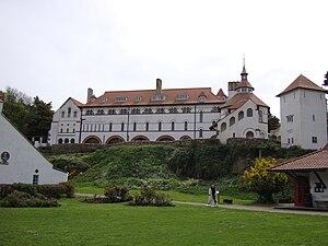 English: Photograph of Caldey Island Abbey, Pe...