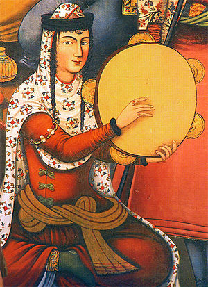 A Persian woman playing the Daf, from a painti...