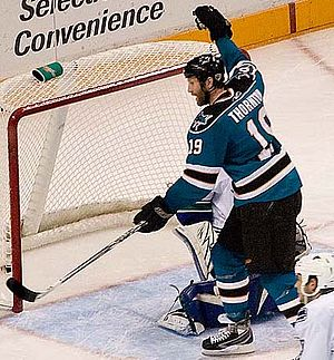 San Jose Sharks centre Joe Thornton celebrates...