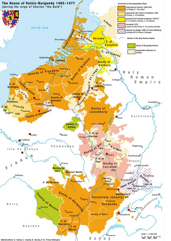 ブルゴーニュ公国の位置