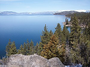 Nevada shore of Lake Tahoe around the barge li...