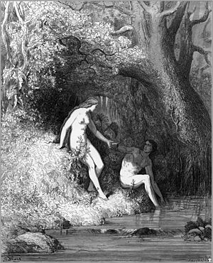 A man and woman at a swimming hole, in this ca...