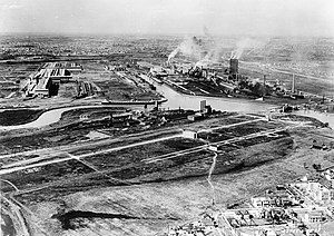 Aerial view of the Ford River Rouge plant near...