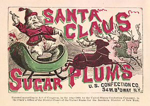 Santa Claus Sugar Plums. Confection label, sho...