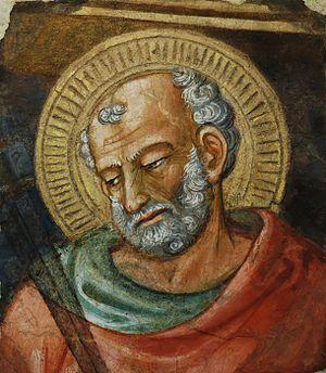 St. Jude Thaddaeus. Fragment of a fresco remov...