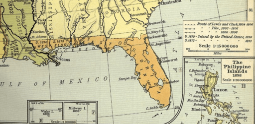 Territorial Expansion of the United States since 1803 excerpt of East and West Florida with US seizure noted