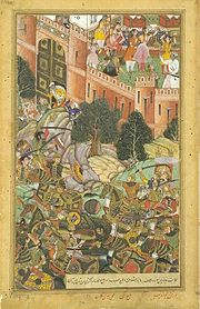 La derrota de  Baz Bahadur, sultán deMandu.
