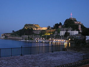 The old citadel of Corfu city located at its e...