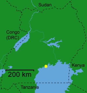 English: map of Uganda showing the city of Ent...