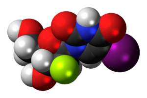 Space-filling model of the fialuridine molecul...