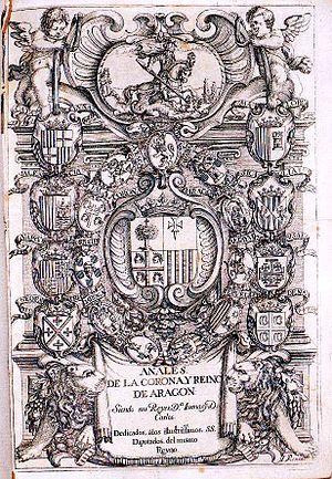 Frontispicio de los Anales de la Corona y Rein...